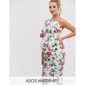 エイソス レディース ワンピース トップス ASOS DESIGN Maternity one shoulder floral midi dress Multi