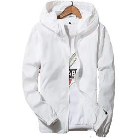 YiTong メンズ ジャケット 紫外線対策 コート ショート丈 カジュアル 韓国風 フード付き UVカット 撥水 ウィンドブレーカー 薄手 コート 無地 春 夏ホワイトW