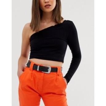 エイソス レディース ベルト アクセサリー ASOS DESIGN rhinestone western buckle waist and hip belt Black