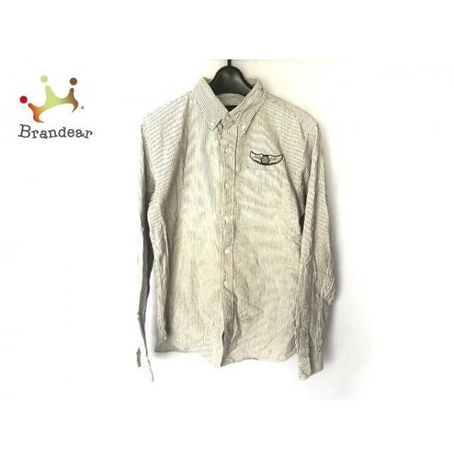 コールブラック COALBLACK 長袖シャツ サイズS メンズ グレー×アイボリー ストライプ  値下げ 20191006
