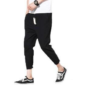 CoCorea メンズ ワイドパンツ 麻ズボン 九分丈 夏ズボン カジュアルパンツ 涼しい 爽やか 綿 麻