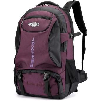 登山バッグ リュック バックパック65L 大容量 防水 アウトドア 防災 災害 旅行 キャンプ 登山リュックバッグ スポーツ ハイキング 男女兼用 (紫)