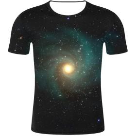 Tシャツ メンズ Meilaifushi かっこいい 3D宇宙空間プリント 異世界柄 夏服 スプライス 丸首 彗星模様 面白い トップス スペシャル ゆったり 通勤 集团服 シンプル 上着 春夏対応 吸汗速乾 通勤 クラス服 クール インナーシャツ