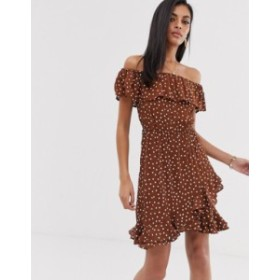 リバーアイランド レディース ワンピース トップス River Island bardot swing dress with frills in polka dot Chocolate spot
