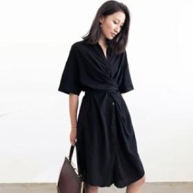 韓国 ファッション レディース ワンピース 夏 黒 シャツ ドレス 女性 2019年夏 半袖 フレンチデザイン センス シック ワンピ シャツワン