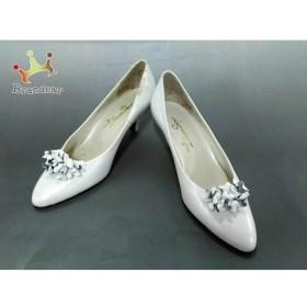 ダイアナ DIANA パンプス 23 レディース 白 Diana Shoes レザー×フェイクパール 新着 20190726