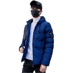 [ジャング] 中綿ジャケット フード付き 無地 メンズ 中綿ブルゾン 韓国風 ショート 綿入れ 防寒着 ダウンコー ビジネス 通勤ブルー2XL