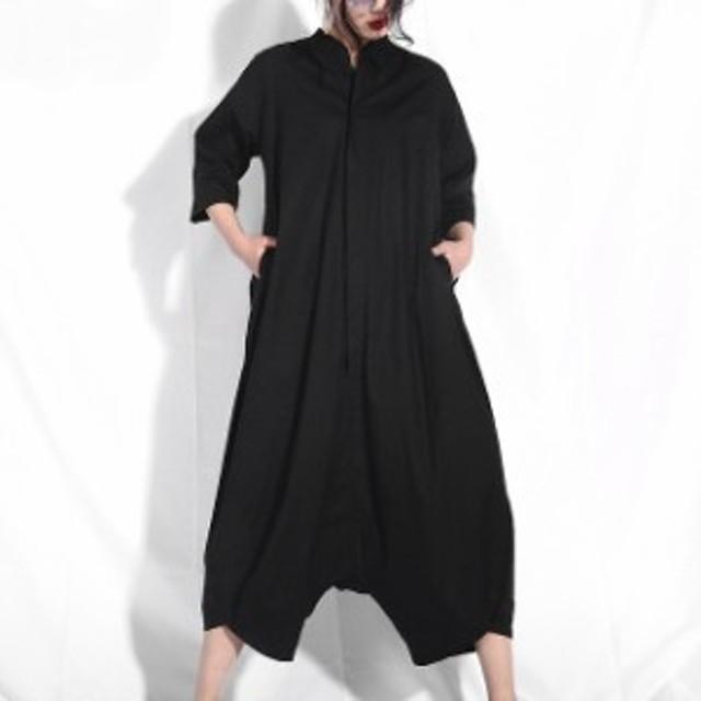 レディース 大きいサイズ サロペット つなぎ オールインワン カジュアル ゆったり ワイドパンツ 黒 袖あり