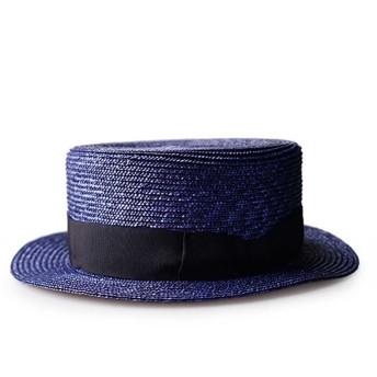 TWITS スタジオトムス 本格的な カンカン帽 日本製 昭和 レトロ ブレード ストローハット メンズ レディース TOKIJIRO (L, ネイビー)