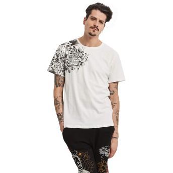 Pizoff(ピゾフ) メンズ 和柄Tシャツ 半袖 白 菊 刺繍鯉 キレイめ スウェット カジュアル トップス 夏AQ018-White-XXL