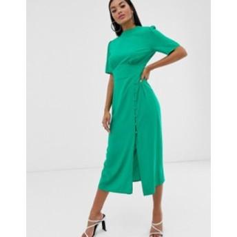 エイソス レディース ワンピース トップス ASOS DESIGN midi tea dress with buttons Emerald green