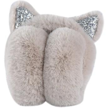 Surblue 可愛い猫耳イヤーマフ ふわふわ 防寒対策 折り畳み式 イヤーウォーマー 耳あて ヘッドバンド式 小顔効果 カーキ