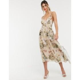 エイソス レディース ワンピース トップス ASOS DESIGN cami maxi dress with soft layered skirt and ruched bodice in print Taupe flo