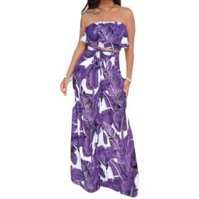 Fly Year-JP 女性の2つの部分の服装は、花の印刷バンドーチューブ作物トップ 1 L