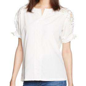 (POMAIKAI) 花柄 ブラウス レディース 半袖 レース シャツ おしゃれ 刺繍 トップス (白 M)