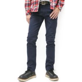 [アラスコ] ジーンズ メンズ デニム パンツ ストレッチ ジーパン ズボン スリム テーパード ネイビー XS