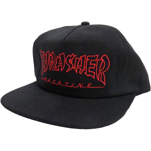 THRASHER キャップ スラッシャー 帽子 メンズ 帽子 スナップバック レディース 帽子 (ワンサイズ, ブラック)