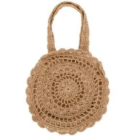[ルリジューズ] かご ショルダー バッグ レース 編み 大きめ ラウンド型 軽量 麦わら bag レディース (ライトベージュ)