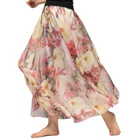 SHEYA レディース ロングスカート 大きいサイズ 花柄 ふんわり シフォンスカート シフォン マキシ丈 スカート 春夏 (80cm, 64)