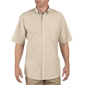 Dickies Occupational Workwear SS46TK 195 Polyester/ Cotton Men's Button-Down Short Sleeve Oxford Shirt, 19-1/ 2 Neck, Light Khaki by Dickies Occupational Workwear