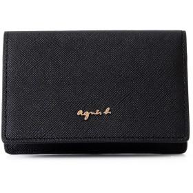 [名入れ可] (アニエスベー ボヤージュ) agnes b. VOYAGE レザー 本革 名刺入れ カードケース パスケース 定期入れ MW09-06 ショップバッグ付 (名入れなし, ブラック)