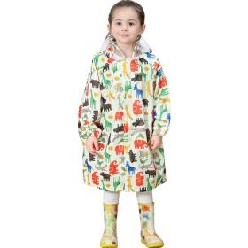 Emfay キッズ レインコート 子供用 ランドセル対応 通園 通学 雨具 男の子 女の子 収納ポーチ付き (M, 動物柄)