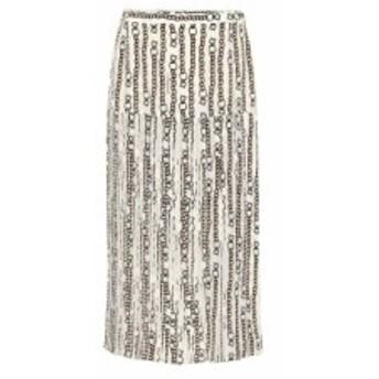 サルヴァトーレ フェラガモ Salvatore Ferragamo レディース ひざ丈スカート スカート Printed silk-blend midi skirt Fdo Ivory