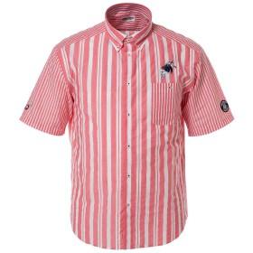 (シナコバ) SINA COVA 半袖ボタンダウンシャツ ボタンダウンシャツ 半袖シャツ カジュアルシャツ ストライプシャツ シャツ 綿 サッカーストライプ メンズ マリンウェア ゴルフウェア (レッド系) Lサイズ 19124570