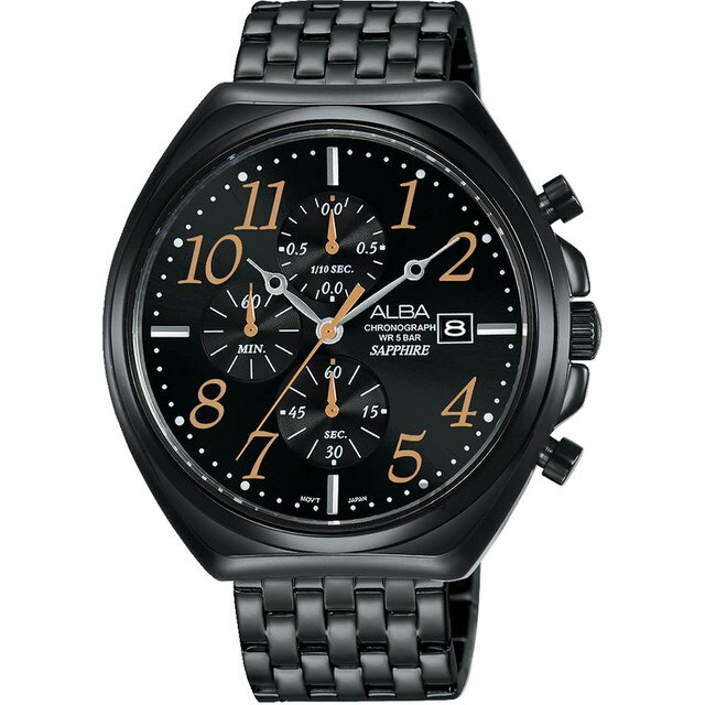 ALBA 雅柏 VD57-X118SD(AM3525X1) 日期顯示三眼計時時尚腕錶/黑 43mm