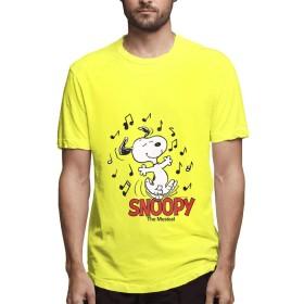 HAH Tシャツ メンズ 半袖 SNOOPY メンズシャツ シャツ メンズファッション Tシャツ メンズ 肌着 半袖 無地 カジュアル ファション おしゃれ 五分袖 夏 Yellow L