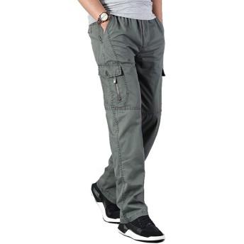LEE FUN (リー ファン)ロングパンツ カーゴパンツ メンズ 大きいサイズ カジュアル ズボン コットン 多機能 イージーパンツ ワーク 作業着 ゆったり ウエストゴム 3色 (M, オリーブ)