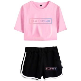 EMILYLE レディーズ BLACKPINK 上下セット Tシャツ ピンクロゴ JISOO JENNIE ROSÉ LISA kpop ポップ 人気 ファン 応援服 韓流グッズ ピンク&黒 XS