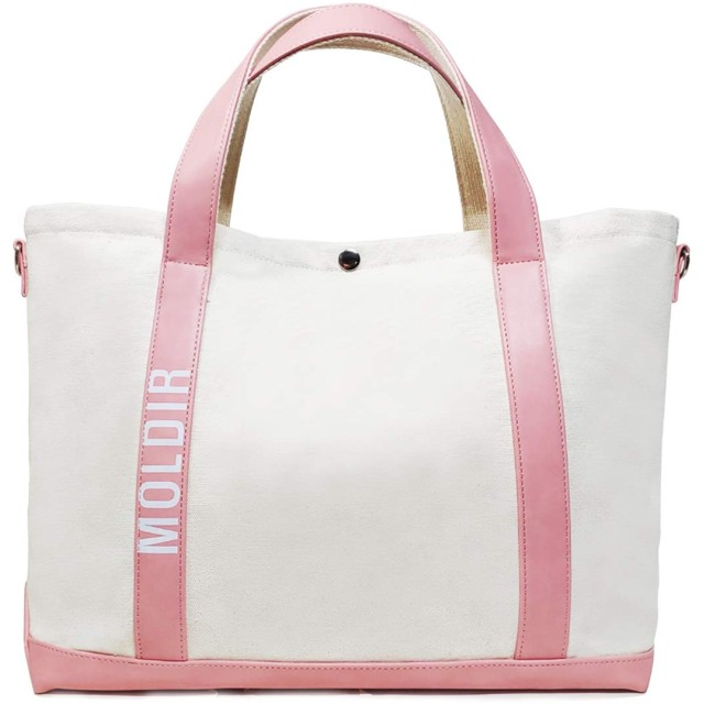 MOLDIR(モルダー) UNION CANVAS/LEATHER COMBINATION TOTE (LIMITED SUMMER QUANTITY ONLY) (IVORY/PINK)