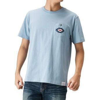 Navy(ネイビー) NAVY JEANS オルテガ柄刺繍Tシャツ 半袖Tシャツ クルーネック 92-7224P-VM メンズ サックス:L
