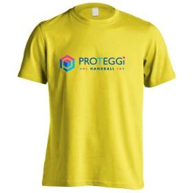(プロテッジ) PROTEGGi オフィシャルロゴデザイン ヘキサゴン ホリゾンタル 半袖プレミアムドライTシャツ イエロー S