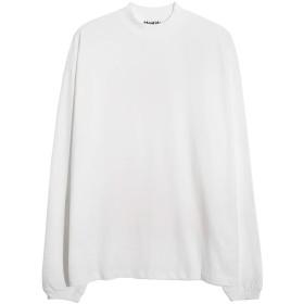 Mentide 新型日韓版秋半ハイネック長袖シャツ男ゆったり綿無地Tシャツファッションタイプ (ホワイト, M)