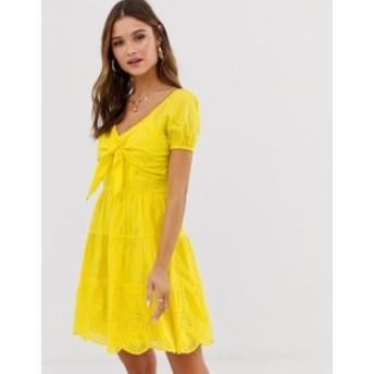 リバーアイランド レディース ワンピース トップス River Island broderie dress with tie front in yellow Yellow fluro