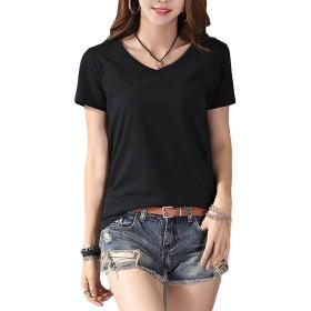 BSCOOLレディース 半袖Tシャツ Vネック ゆったり トップス 夏 無地 レディースtシャツ 白Tシャツ黒Tシャツ フェミニン コットン 柔らか 大きいサイズ(D黒)