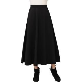 【TaoTech】 ロングスカート レディース ミモレ マキシ ドレス フレア ウエスト ゴム (フリー, ロング/ブラック)