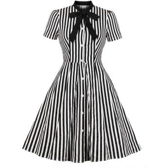 MISSVIN 女性のストライププリントネクタイポケットヴィンテージボタンダウンシャツドレス (L)