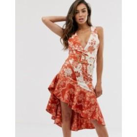 エイソス レディース ワンピース トップス ASOS DESIGN Floral asymmetric midi dress with wicker belt and pep hem detail Multi