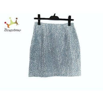 アプワイザーリッシェ スカート サイズ2 M レディース 美品 ライトブルー×白×マルチ ツイード 新着 20190726