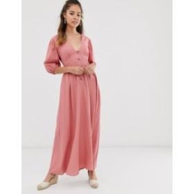 エイソス レディース ワンピース トップス ASOS DESIGN button through linen maxi dress with cross back Dusky pink