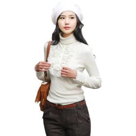 (ミズミス) Ms.Miss レディース レース & フリル ブラウス 風 シャツ 長袖 タートルネック きれいめ フォーマル (XXXL, ホワイト)
