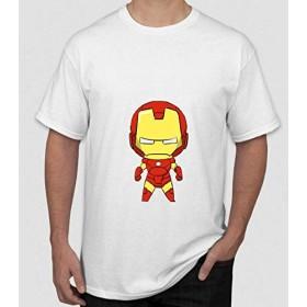 Flyy-Tシャツスーパーヒーローアイアンマンプリント - メンズサマー半袖Tシャツ