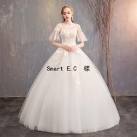 2019新作ウェディングドレス 流れるドレープが美しいプリンセスラインドレス 結婚式や二次会 花嫁ドレス 超仙フレンチウェディング ドレ