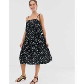 エイソス レディース ワンピース トップス ASOS DESIGN midi pleated textured dress in spot Spot print