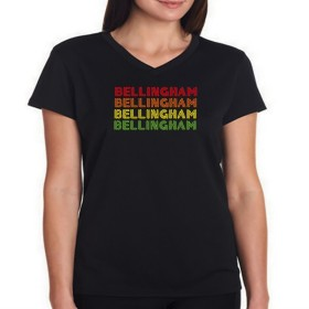 Bellingham city Vネック 女性の Tシャツ