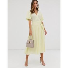 エイソス レディース ワンピース トップス ASOS DESIGN puff sleeve wrap midi skater dress in dobby spot Yellow