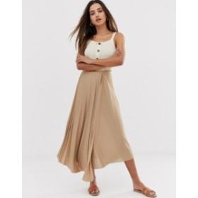 エイソス レディース スカート ボトムス ASOS DESIGN cut about wrap pleated city maxi skirt Mink